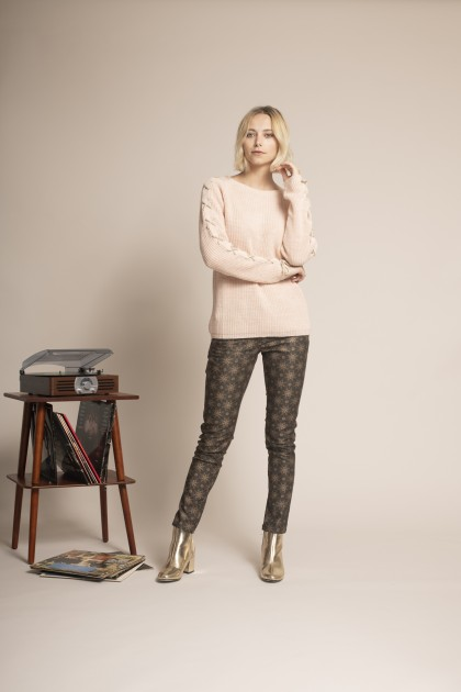 PULL MANCHES LACET LUREX